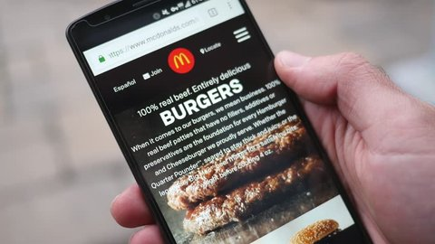 MONTREAL, CANADA - November 2016 : McDonalds browsing mobile website on a smartphone.