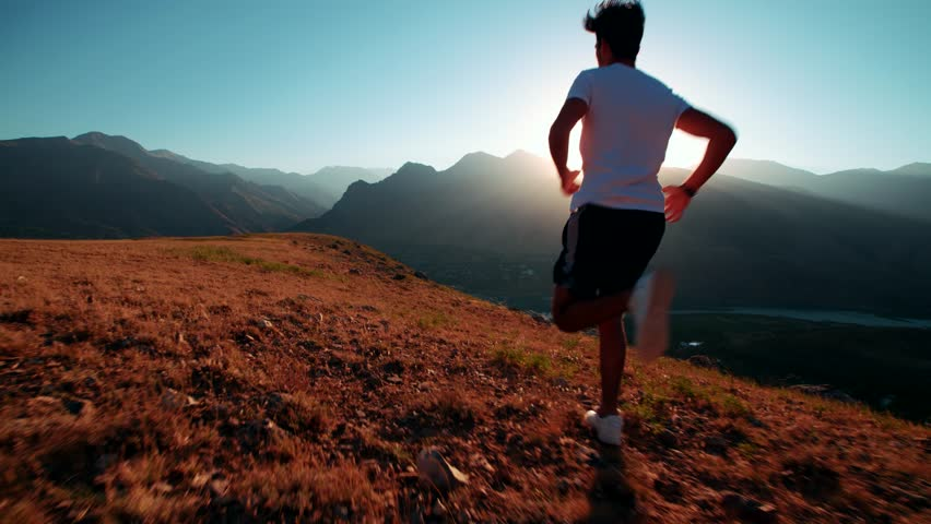 mountain landscape Asian running man Jogging in the morning slow motion #21388705