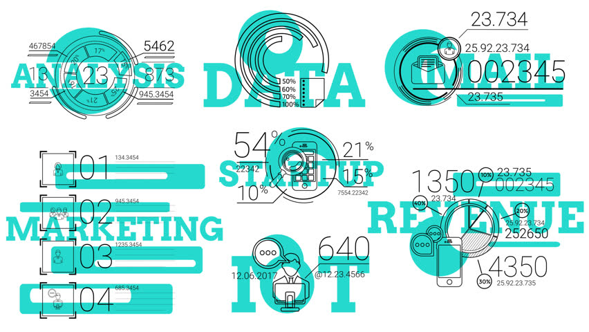 Infographic Elements In The Line Style. Blue Spot | Shutterstock HD Video #21418405