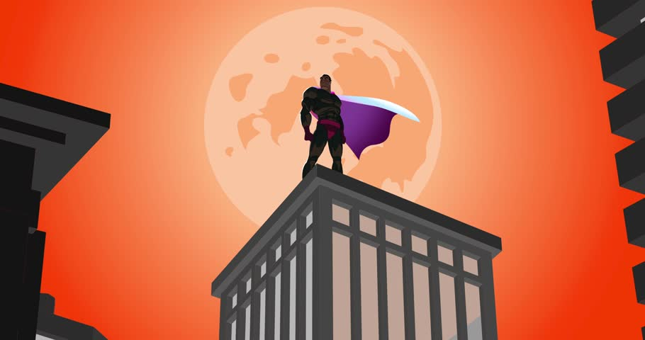 Superhero standing on the roof of a skyscraper and looks into the distance. The camera moves from the bottom up. Develops cape. A huge moon in the night sky crimson.