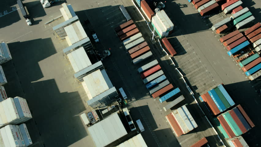 Aerial vertical view of containers on the dockside in the Port of Oakland, San Francisco, California, North America, USA