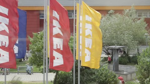 BUDAPEST, HUNGARY - JULY 13, 2015: Ikea Flags at Windy Day in Budapest, Hungary.