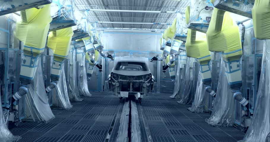 Robots are painting cars in production line in automobile factory | Shutterstock HD Video #21557875