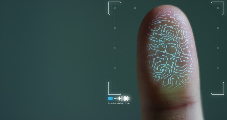 futuristic digital processing of biometric fingerprint scanner. concept of surveillance and security scanning of digital programs and fingerprint biometrics. cyber futuristic applications. | Shutterstock HD Video #21565945