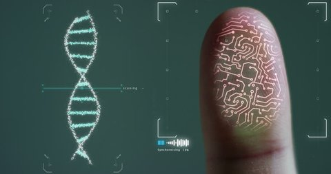scan fingerprint biometric identity and approval and dna granted. concept of the future of security and password control through fingerprints in an advanced technological future and cybernetic