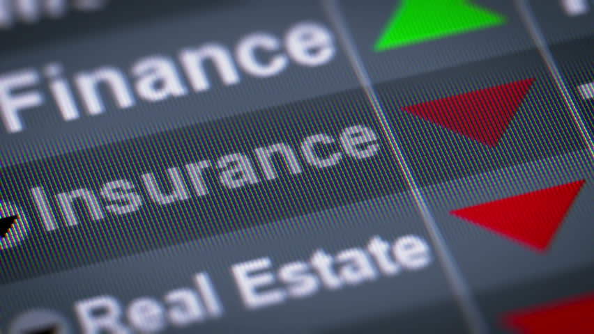 Index of Insurance industry on the screen. Down. Looping.   Shutterstock HD Video #21688555