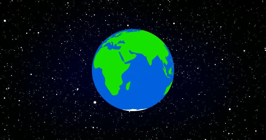 Cartoon Earth Zoom-In Animation. HD Loop-able Stock
