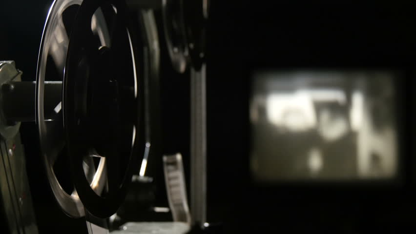 view of an old-fashioned antique 16 mm film projector
