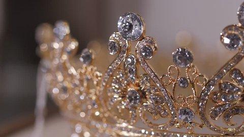 Diamond diadem with reflexion. Luxury Jewelry crown in wedding shop.