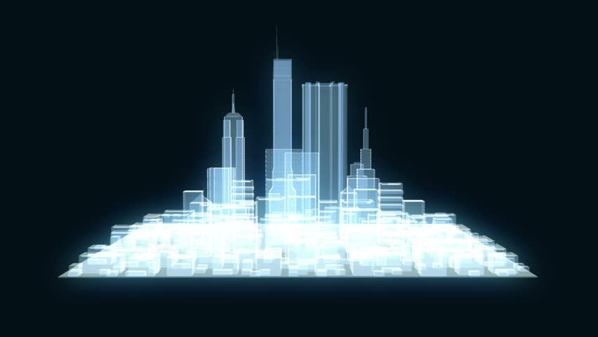 Abstract futuristic city hologram on black background. 3d buildings, skyscrapers in technology style.