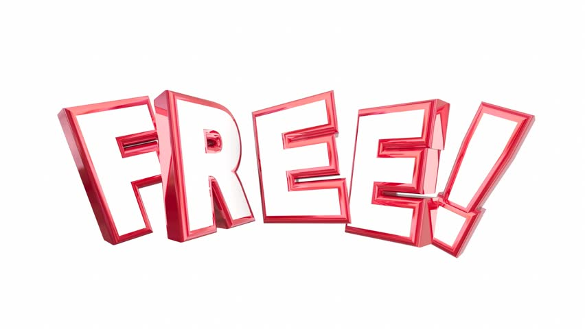 Free No Cost Complimentary Bonus Word 3d Animation