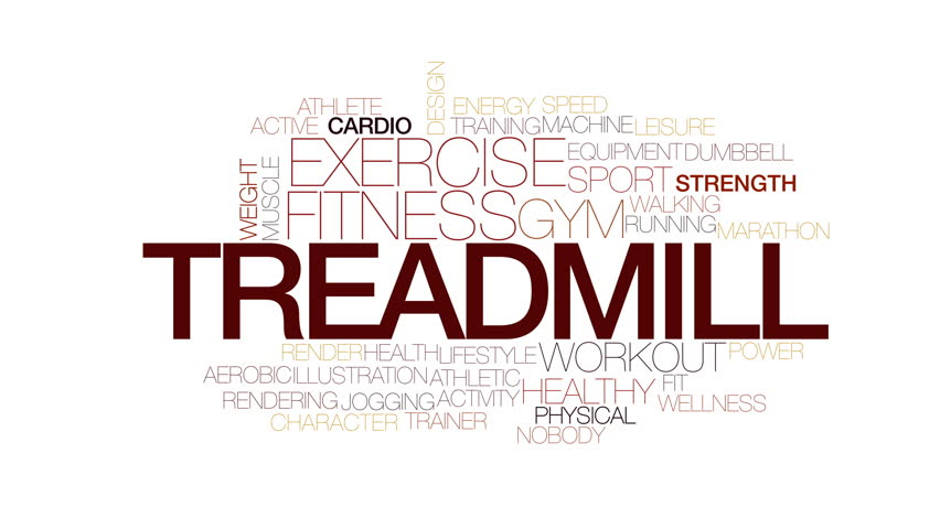 Treadmill animated word cloud. Kinetic typography.