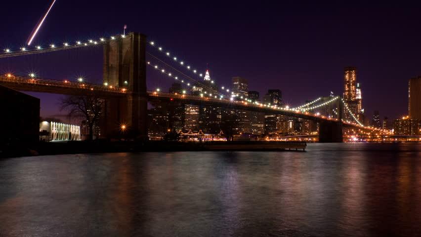 New York Brooklyn Bridge Sunset Stock Footage Video 100 Royalty