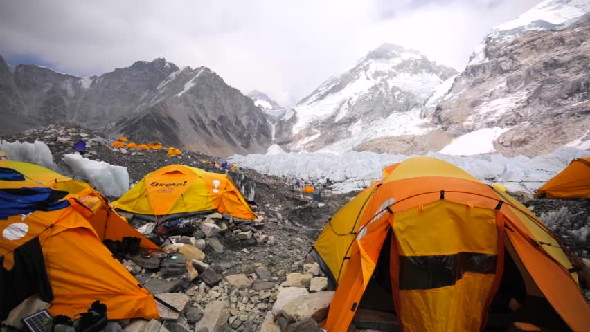 EVEREST BASE CAMP NEPAL - APRIL 30 2016 View of tents established on & Everest Base Camp Colored Tents At An Altitude Of 5364 Metres ...