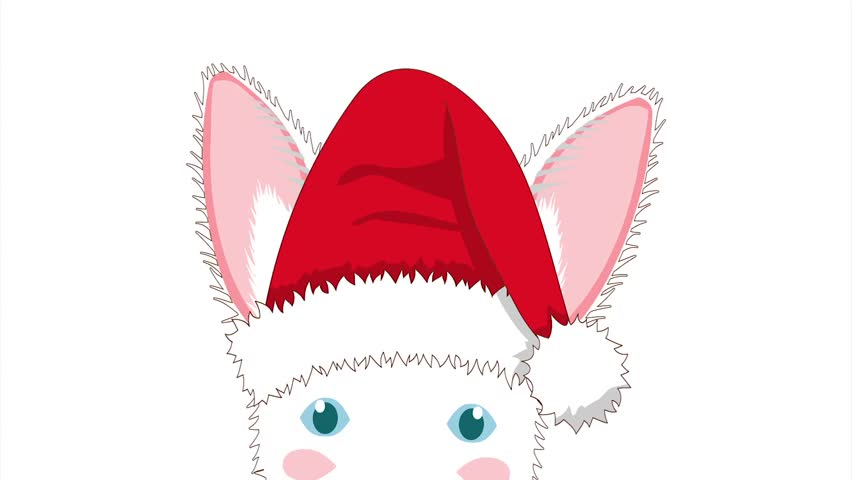 White rabbit with santa hat sneaking greeting card christmas day white rabbit with santa hat sneaking greeting card christmas day isolated on white screen stock footage video 21872095 shutterstock m4hsunfo Images