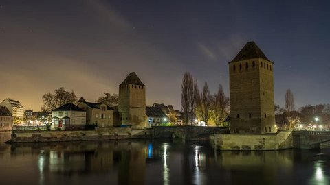 "Strasbourg, medieval bridge Ponts Couverts is located in the historic district ""Petite France"". Alsace, France."