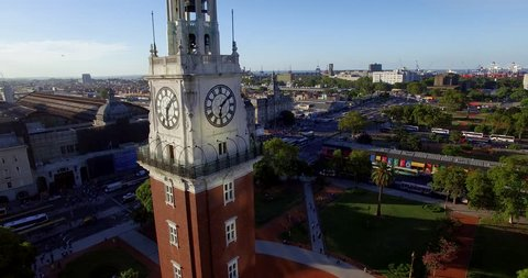 Aerial view of clock town out side of train station Buenos Aires, Argentina (March 01, 2016 - Buenos Aires, Argentina)