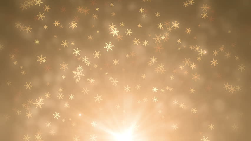 Soft beautiful gold backgrounds. Moving golden gloss particles on background loop. Winter theme Christmas background with snowflakes.