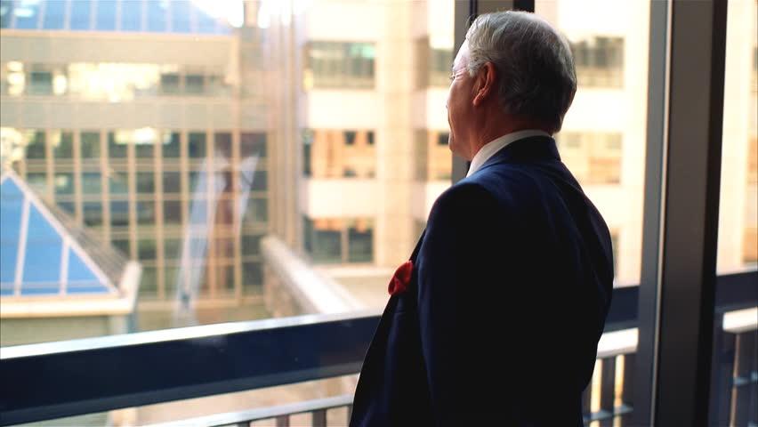 Executive thinking at window