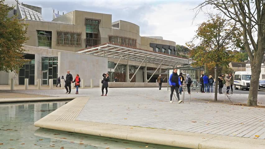 EDINBURGH, SCOTLAND - 17 Nov 2016: Establishing Shot of Exterior of The Scottish Parliament Building
