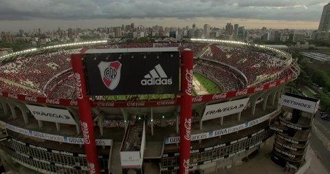 Aerial view of Argentinian football stadium, Estadio Monumental Antonio Vespucio Liberti, home of the football team River Plate, CARP. (March 01, 2016 - Buenos Aires, Argentina)