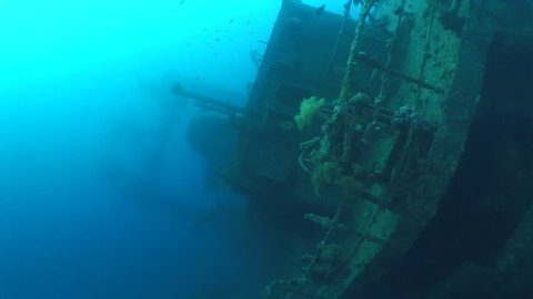 shipwreck underwater ship wreck laying bottom sea on her side