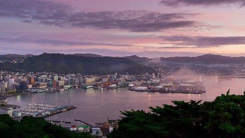 Foggy sunrise over Wellington Harbour, North Island, New Zealand