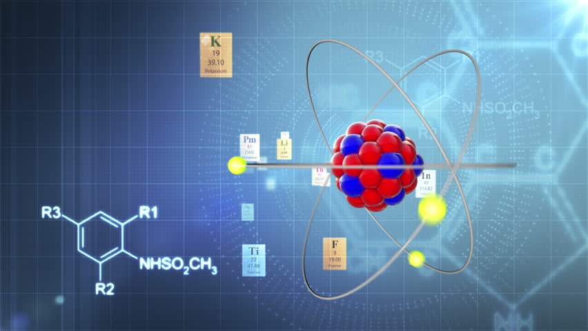 Scientific background atom model with elements of periodic table atom model with elements of periodic table and chemical formulas stock footage video 2195905 shutterstock urtaz Image collections