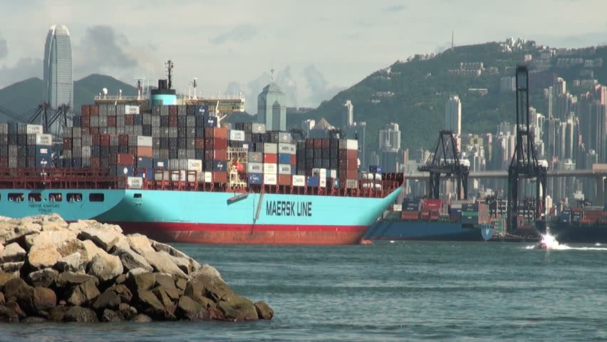 HONG KONG - 27 JULY: A container ship leaves the port of Hong Kong on July 27, 2010.