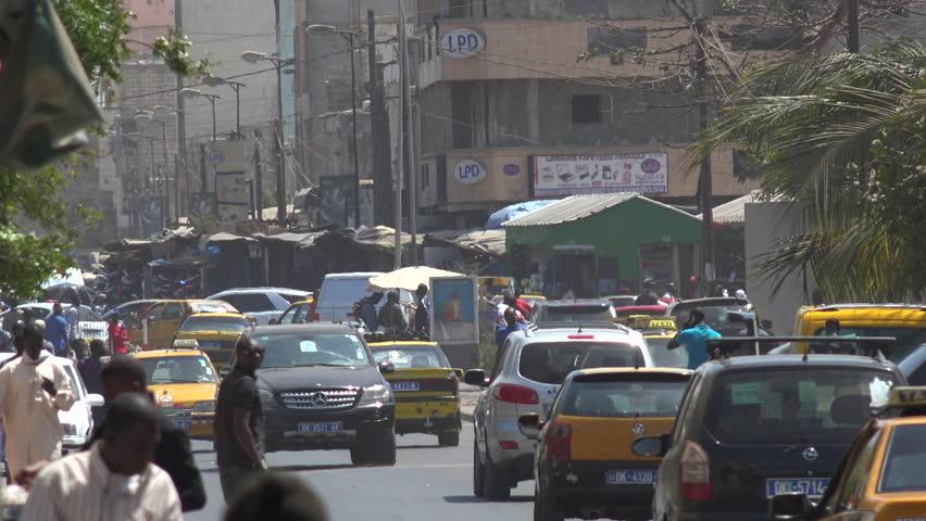 Dakar street scene, African traffic - 2016 April: Dakar, Senegal