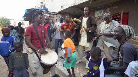 African folk music in Dakar slum - 2016 April: Dakar, Senegal