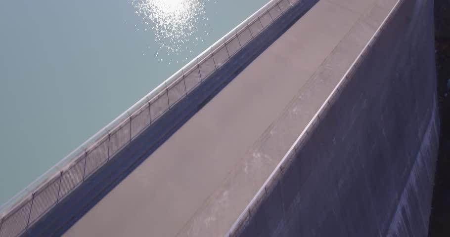 Barrage of Grande Dixence, traveling from water to sky, Switzerland Drone DJI Phantom 4 4K - 24fps - 24 sec.