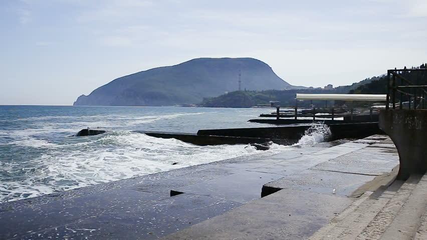 Soft wave of Black sea near Ayu-Dag mountain. Partenit, Crimea.