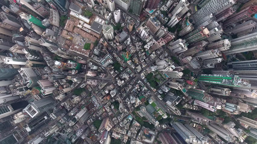 Top view aerial video above commercial cityscape of megalopolis with highly developed architecture and industry with offices and headquarters of biggest companies in world, can be used for advertising #22037515