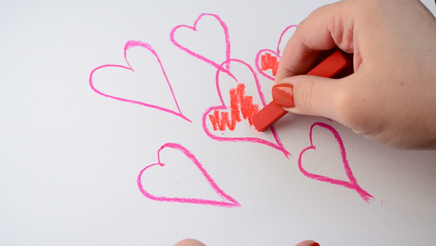 drawing process we draw valentines day cards stock footage video 22052011 shutterstock