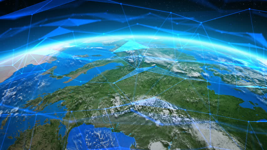 Earth Seen From Space With Futuristic Networks Northern - Usa northern hemisphere