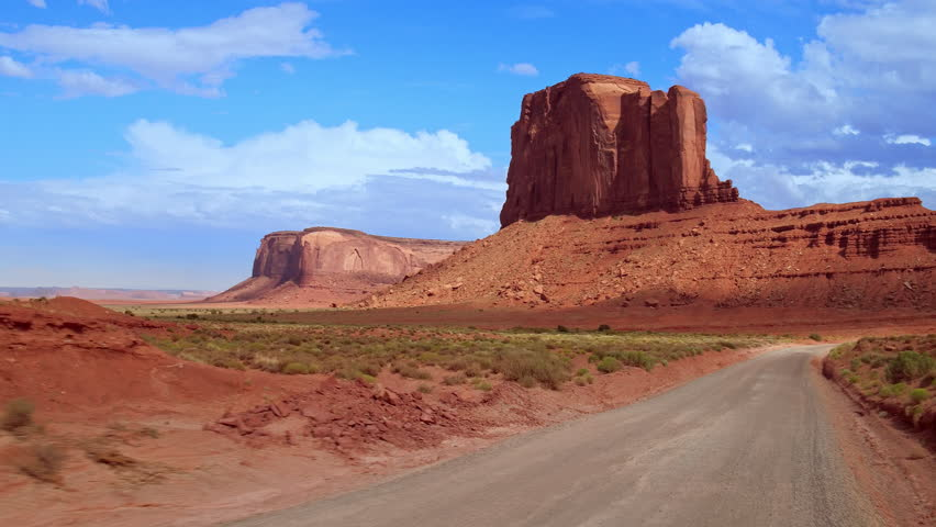 Driving through Monument Valley, USA.