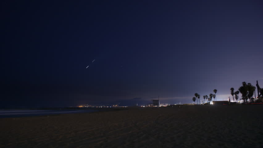 Timelapse Of Venice Beach At Night Los Angeles California