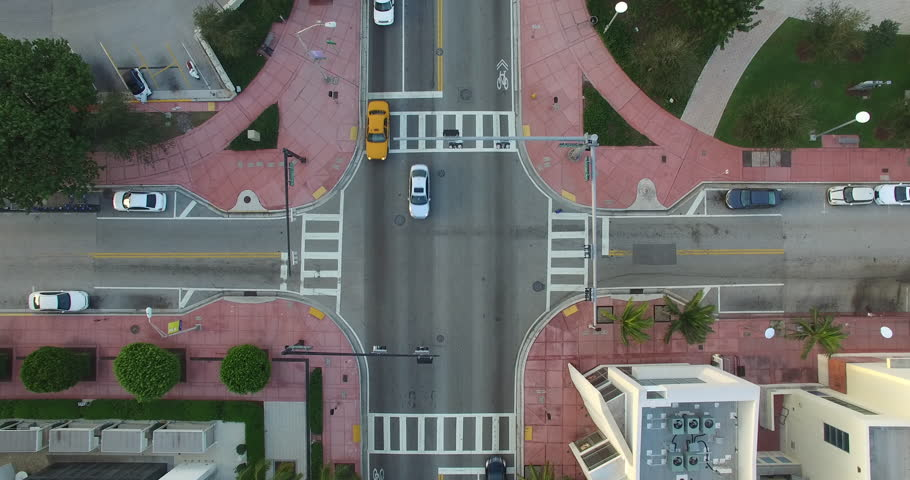 Intersection shot from above during the day in Miami Florida.  | Shutterstock HD Video #22130815