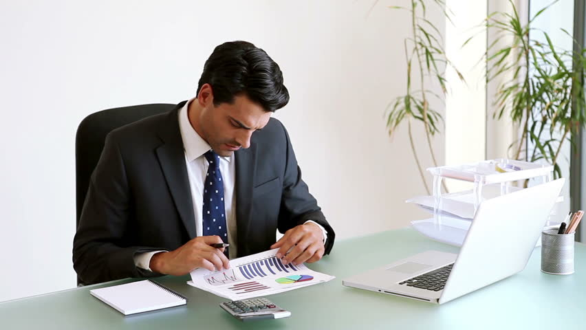 Businessman Working On Doents In His Office Hd Stock Footage Clip