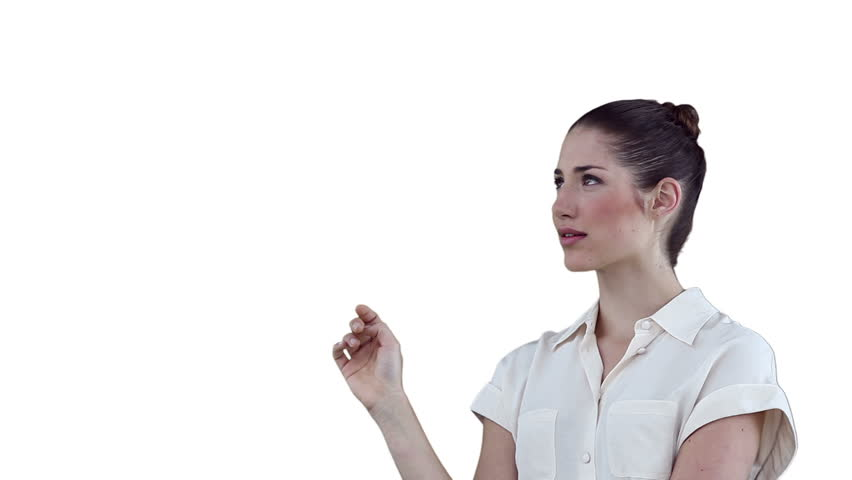 Businesswoman thoughtfully using a digital touchscreen against a white background