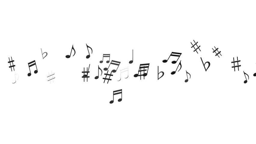 Black Musical Notes On White Background. Loop able 3DCG render Animation.
