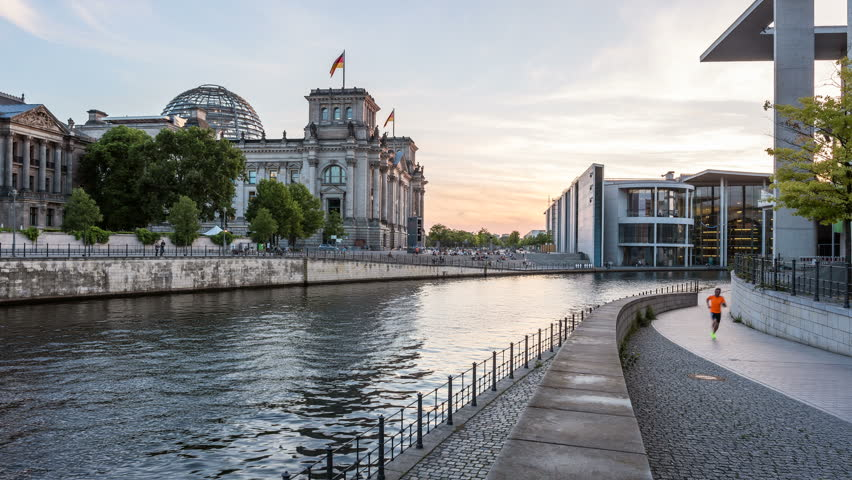 Berlin Reichstag and Spree river Hyperlapse