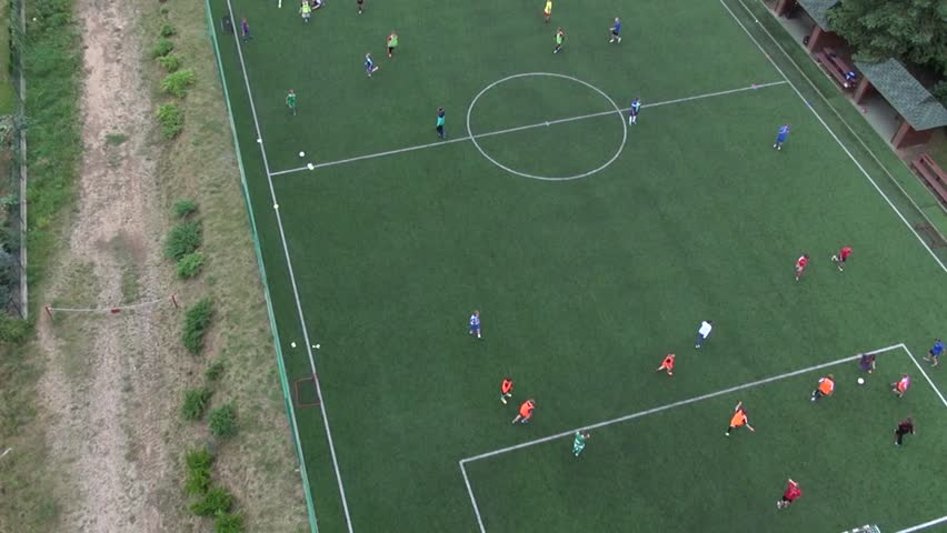 Children Are Playing Football. School Stadium. Playground. Aerial View. Stock Footage Video ...