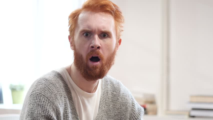 Shocked, Stunned Man with Red Hairs