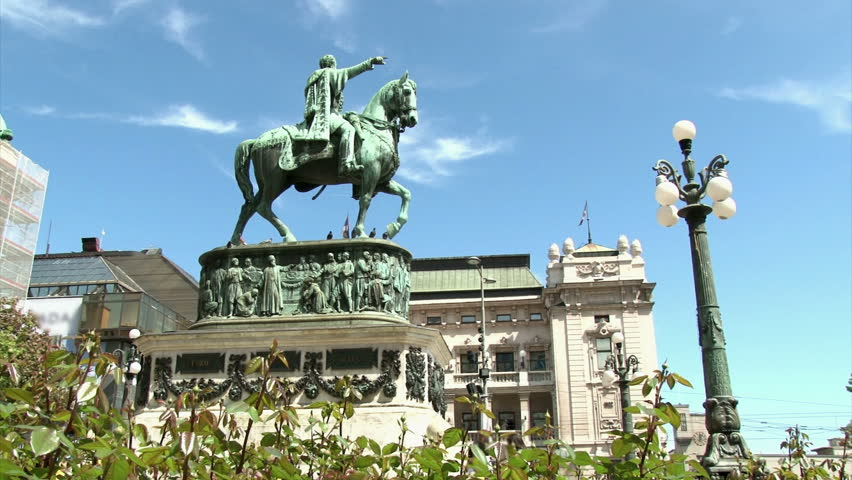 Monument, Knez Mihailo, Belgrade. National Theater in background.