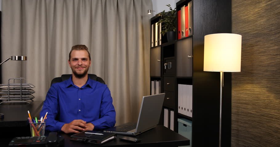 Positive Chief Executive Officer Posing Smiling Looking Camera ...