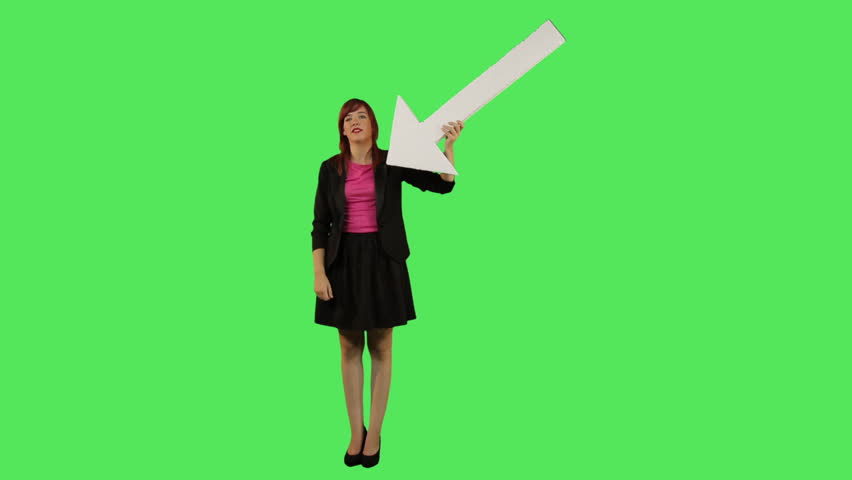 Female pointing arrow at herself on greenscreen  #2229595
