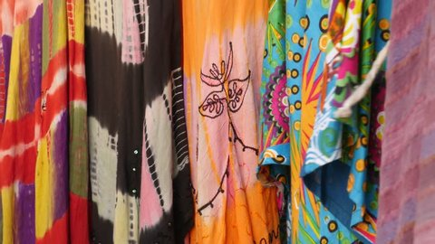 Traditional dresses on the walls of Jaisalmer fort, India
