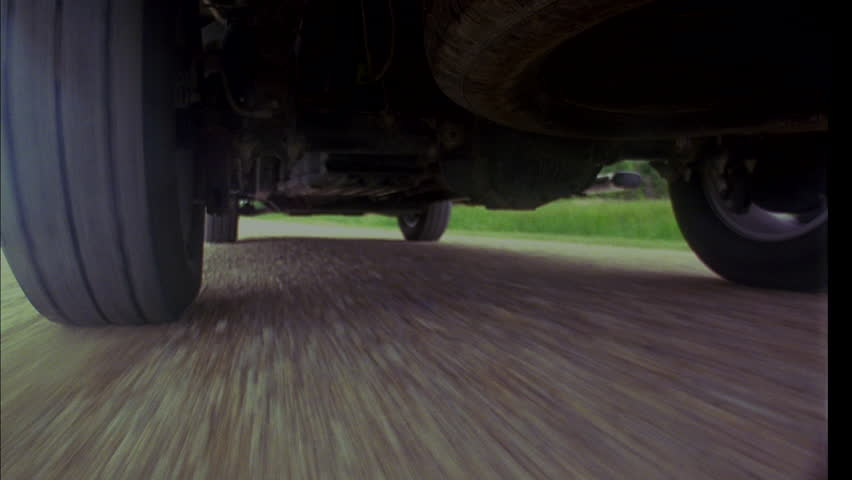 day MPOV low angle Underside pick up truck Gravel road Skids side stops (Jan 2005)